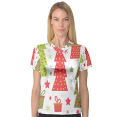 Christmas design - green and red Women s V-Neck Sport Mesh Tee