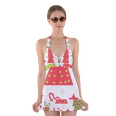 Christmas Design   Green And Red Halter Swimsuit Dress