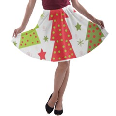 Christmas design - green and red A-line Skater Skirt