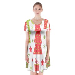 Christmas design - green and red Short Sleeve V-neck Flare Dress