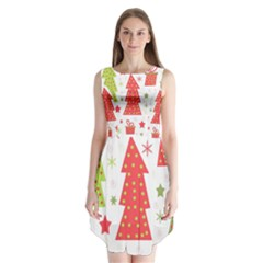 Christmas Design   Green And Red Sleeveless Chiffon Dress