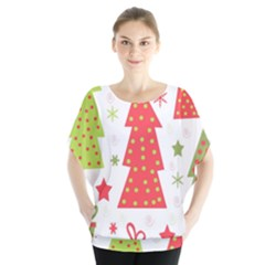 Christmas Design   Green And Red Blouse