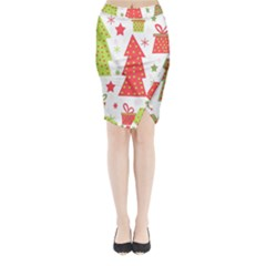 Christmas Design   Green And Red Midi Wrap Pencil Skirt