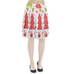 Christmas design - green and red Pleated Skirt