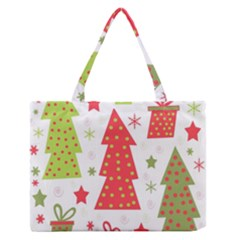 Christmas Design   Green And Red Medium Zipper Tote Bag