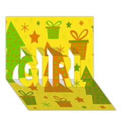 Christmas design - yellow GIRL 3D Greeting Card (7x5)