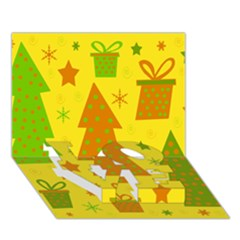 Christmas design - yellow LOVE Bottom 3D Greeting Card (7x5)
