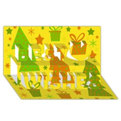 Christmas design - yellow Best Wish 3D Greeting Card (8x4)