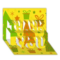 Christmas design - yellow THANK YOU 3D Greeting Card (7x5)