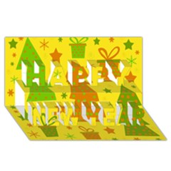 Christmas design - yellow Happy New Year 3D Greeting Card (8x4)