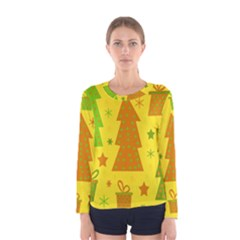 Christmas design - yellow Women s Long Sleeve Tee
