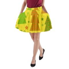 Christmas design - yellow A-Line Pocket Skirt