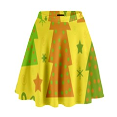 Christmas design - yellow High Waist Skirt
