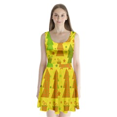 Christmas design - yellow Split Back Mini Dress