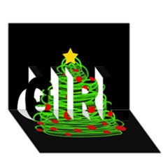 Christmas tree GIRL 3D Greeting Card (7x5)