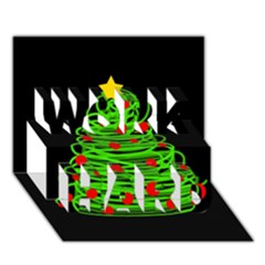 Christmas tree WORK HARD 3D Greeting Card (7x5)
