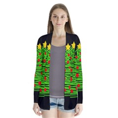 Christmas Tree Drape Collar Cardigan