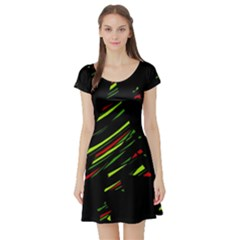 Abstract Christmas tree Short Sleeve Skater Dress