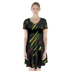 Abstract Christmas tree Short Sleeve V-neck Flare Dress