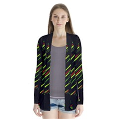 Abstract Christmas Tree Drape Collar Cardigan