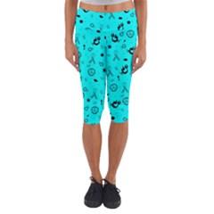 POTS Mermaid Print In Turquoise Capri Yoga Leggings