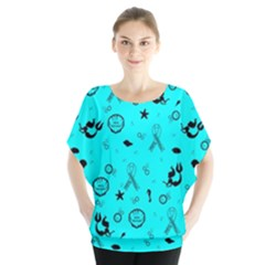POTS Mermaid Print In Turquoise Blouse