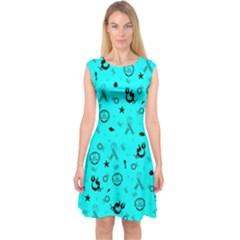 POTS Mermaid Print In Turquoise Capsleeve Midi Dress
