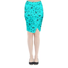 POTS Mermaid Print In Turquoise Midi Wrap Pencil Skirt