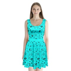 Pots Mermaid Print In Turquoise Split Back Mini Dress