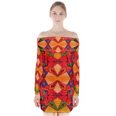 Zazar Queen Long Sleeve Off Shoulder Dress