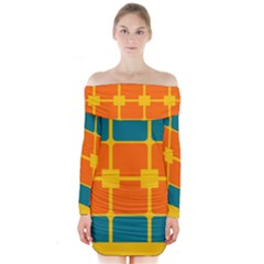 Squares and rectangles   Long Sleeve Off Shoulder Dress