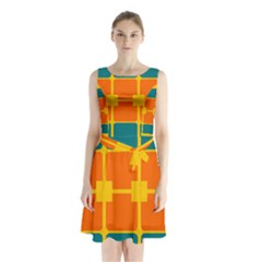 Squares And Rectangles        Sleeveless Waist Tie Dress
