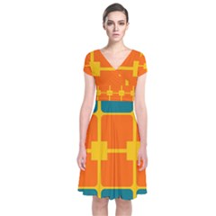 Squares And Rectangles                                                               Short Sleeve Front Wrap Dress
