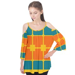 Squares and rectangles            Flutter Sleeve Tee