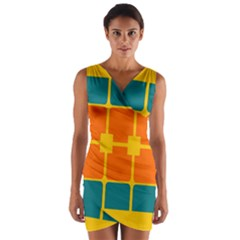 Squares And Rectangles                                 Wrap Front Bodycon Dress