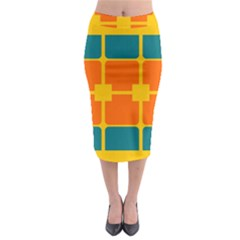 Squares And Rectangles                                                                                                  Midi Pencil Skirt