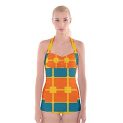 Squares and rectangles           Boyleg Halter Swimsuit