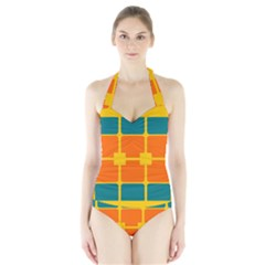 Squares And Rectangles                                                                                                Women s Halter One Piece Swimsuit