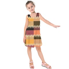 Chevrons In Squares    Kid s Sleeveless Dress