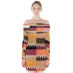 Chevrons In Squares    Long Sleeve Off Shoulder Dress