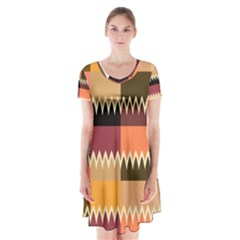 Chevrons In Squares         Short Sleeve V Neck Flare Dress