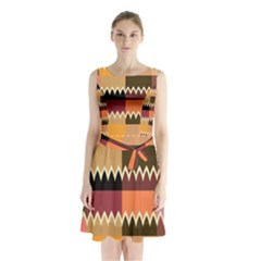 Chevrons in squares         Sleeveless Waist Tie Dress