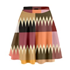 Chevrons In Squares                                                                                                   High Waist Skirt