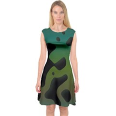 Black Spots On A Gradient Background                                Capsleeve Midi Dress