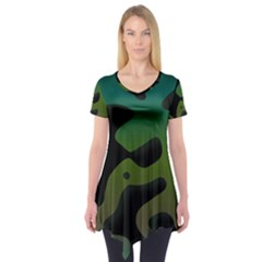 Black Spots On A Gradient Background                           Short Sleeve Tunic