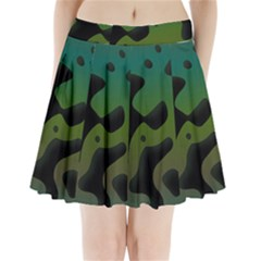 Black spots on a gradient background                            Pleated Mini Mesh Skirt