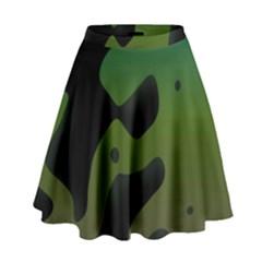 Black Spots On A Gradient Background                                                                                                    High Waist Skirt