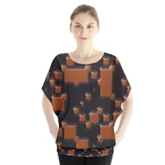 Brown pieces                        Batwing Chiffon Blouse