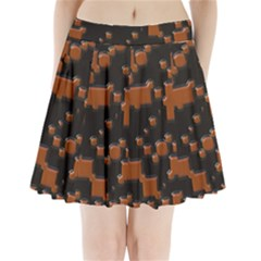 Brown Pieces                            Pleated Mini Mesh Skirt