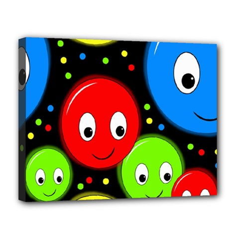 Smiley faces pattern Canvas 14  x 11